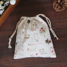 Wholesale cloth tea bag - 2017 New Arrival Handmade Cotton Cloth Storage Bundle Drawstring Bags Tea Gift Bag White Kitten Print Bag Good Quality