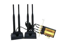 Wholesale Heat Cards - Wholesale- desktop pc wifi pci-e adapter 867mbps 4pcs 6DB external antenna wireless network card BT4.0 802.11a b g n ac with heat sink