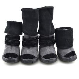XS-XL Pet зимняя обувь противоскользящая хлопок мягкая кожа кашемир водонепроницаемый теплые пинетки сапоги пояса украшения Собака зимняя обувь от