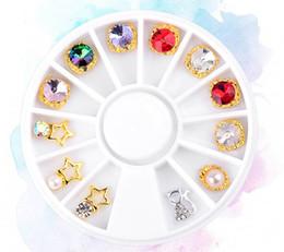 Wholesale 3d Diy Nail Art Pearl - New Nail Art Rhinestone 12pcs Box Creative Alloy Pearl Nail Art Decoration Wheel 3D Beauty Salon Charm DIY Nail Manicure 2017