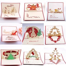 Wholesale Hot Greeting Cards - Handmade Kirigami & Origami 3D Pop UP Card Creative Merry Christmas Gift&Greeting Cards hot Free shipping OTH603