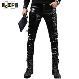Wholesale leather joggers pants - Wholesale- Fashion Autumn&Winter Mens Skinny Leather Pants Faux Black Joggers Pants Motorcycle Trousers For Men With Strings