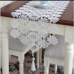 Wholesale Home Table Runners Wholesale - 40*120cm Jacquard Wedding Lace Table Runners Chair Sashes Table Cloths Home Garden Kitchen Bar Party Event Decoration Table Skirt