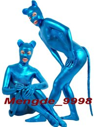 Wholesale Outfit Mouse - New Blue Shiny Lycra Metallic Mouse Suit Catsuit Costumes Fantastic Mouse Suit Outfit Unisex Cosplay Costumes Halloween Cosplay Suit M201