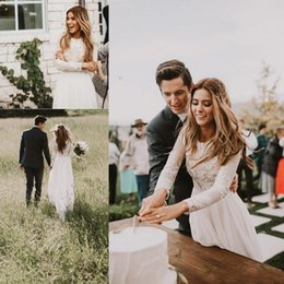 Wholesale Romantic Country Style - Summer Beach 2018 Vintage Romantic Vintage Country Style Lace Wedding Dresses Long Sleeves Back Zipper Sweep Train Boho Wedding Bridal Gowns