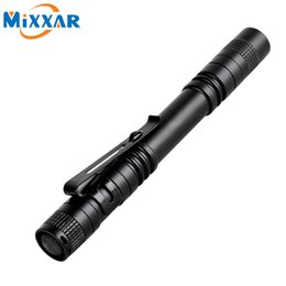 Wholesale Wholesale Clips - LED Flashlight Outdoor Pocket Portable Torch Lamp 1 Mode 300LM Pen Light Waterproof Penlight with Pen Clip