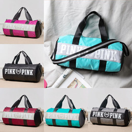 Wholesale Wholesale Canvas Travel Bags - Barrel Pink&Pink Letter Handbags Secret VS Shoulder Bags Women Love Large Capacity Travel Duffle Striped Waterproof Beach Bag Shoulder Bag