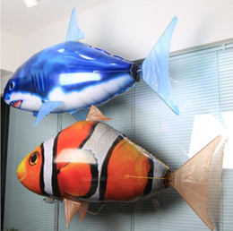 Wholesale Remote Control Animal Rc Fish - Wholesale- 2016 New outdoor Flying Fish Yellow Clownfish Blue Shark RC Flying Remote Control Balloon Animal Toy kids Best Gifts