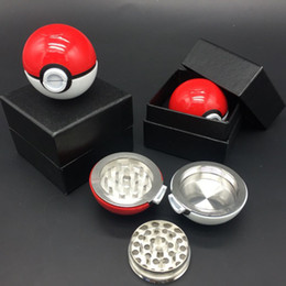 Wholesale Retail Tobacco - Pokeball Tobacco Grinder 55mm Poke Ball Herb Grinders Metal Zinc Alloy Metal 3 Parts Smoking Accessories With Retail Box 3002022