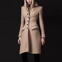 Wholesale Camel Wool Coat Women - Women winter long solid camel wool blend ladies Coat large Turn Down Collar free sashes Windproof