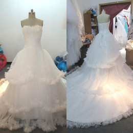 Wholesale Wedding Dresses Feathers Skirts - Real Photos Ball Gown Wedding Dresses Sleeveless Sweetheart Feather Embellished Ruffles Edge Tiered Bridal Gowns Lace-up Back with Train