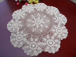 "Wholesale Crochet Round Cloths - Wholesale- Pastrol Style 26"" Round Handmade Crochet Doily Floral Table Cloth Centerpiece Runner Doilies Chair Sofa Topper Decor"