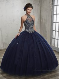 Wholesale Black Modern Dance - vestidos de 15 2017 Dark Navy Quinceanera Dresses Mary's with Halter Neck and Sexy Back Ball Gown Girls Dance Dress with Jacket
