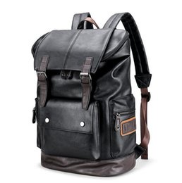 Wholesale Leather Fashionable Backpacks - wholesale brand men's bags fashionable large capacity leather backpack retro color casual men backpack outdoor travel leather backpack