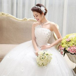 Wholesale Strapless Fold Wedding Dress - Free shipping DHL EMS epacket !NEW! Fashionable white strapless fold flowers with the princess Wedding dresses HS002-120