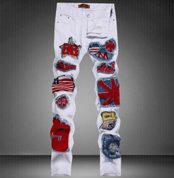 Wholesale Spliced Jeans - Men's Patchwork Denim Jeans Male Spliced Flag Embroidery Patches Hip Hop Zipper Skinny Pants