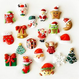 Wholesale Cute Fridge Magnet Toy - Christmas Creative 3D Fridge Magnets Cute Cartoon Fashion Santa Claus Christmas Tree Resin Magnetic Sticker Funny Refrigerator Toy