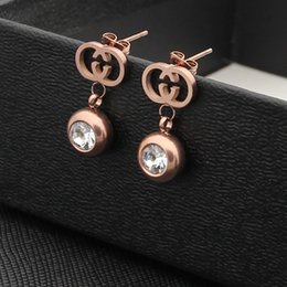 Wholesale Gold Filled Dangle - Brand jewelry 316L Titanium steel dangle with diamond women Fashion Earrings jewelery for women wedding gifts PS5641