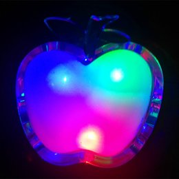 Wholesale Apple Wall Lamp - Wholesale- Beautiful Colorful RGB LED Night Light 220v Bedside Lamp LED Energy-saving Wall Lamp Apple Nightlight for Children Gift
