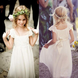 Wholesale Dressed For Christening White - Boho Beach Cap Sleeves Flower Girl Dresses 2017 White Ivory Lace Chiffon Girls Kids Formal Dresses for Wedding with Sash First Communion