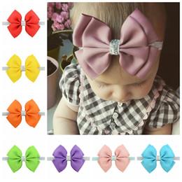 Wholesale glitter headbands for girls - New 20 Color Baby Headbands Bows Kids Ribbon glitter Elastic Headbands for Girls Children Hair Accessories Double Bowknot Hairband KHA146