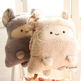Wholesale Korean Soft Toys - 1016004 Pillow + Blanket 3 in 1 Soft Plush Pillow Blankets Animal Hamster Stuffed Dolls Toys Cartoon Sofa Bedding Throw Cushion 2 Color