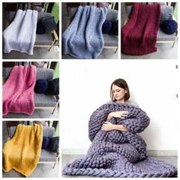 Wholesale Handmade Crochet Gifts - 20 Colors 60*60cm Photography Props Blanket Knitted Handmade Weaving Crochet Linen Woolen Blankets Christmas Gifts CCA7792 10pcs