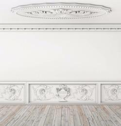 Sculptures sur bois en Ligne-Intérieur De Mariage Photo Vinyle Fond Mur Blanc Exquises Sculptures En Bois Plancher De Toile De Fond Toile Photographie Fond D'écran 10x10ft
