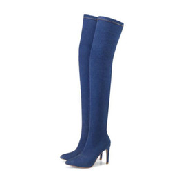 snow boots long high Promo Codes - Shoes Women Boots Long Autumn Winter Boots Over The Knee Boots Ladies Thin High Heel 10 cm Big Size 36-42 Women Shoes