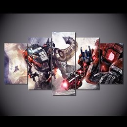 Wholesale Pictures Movie Posters - 5Pcs Set HD Printed transformers robots fighting movie Painting Canvas Print room decor print poster picture kitchen canvas art