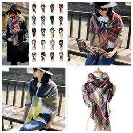 Wholesale Wholesale Cashmere Wraps - Plaid Scarves Grid Tassel Wrap Oversized Check Shawl Tartan Cashmere Scarf Winter Neckerchief Lattice Blankets Fashion AccessorieYYA89