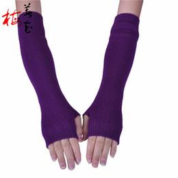 Wholesale Korean Fingerless Gloves - Wholesale- 40cm Arm Gloves Lady Winter Glove Korean Fashion Half Finger Cashmere Glove Vrouwen Lange Handschoenen Guanti Da Donna Lunghi