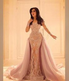Wholesale Evening Dresses Full Skirt - Long Sleeved Lace Evening Dresses with Organza Over Skirt Mermaid Illusion Slit Skirt and Sheer Full Sleeves prom