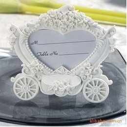 Wholesale Card Place Clip - White pumpkin carriage photo frame place card holder The new European style wedding seat clip wa4031