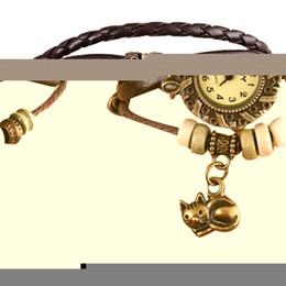 Wholesale Look Bracelet - Wholesale- 2016 Women Quartz Weave Around Wrist Watches Female PU Leather Cat Bracelet Lady reloj mujer kol saati Good-looking JUL 26
