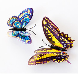 Wholesale Appliance Switches - Mix Style Double Side 3D Luminous Butterfly wall stickers home decor Sticker on the Art Wall decal Mural for Home appliances kids rooms