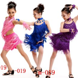 Wholesale Salsa Dresses For Kids - Professional Kids Latin Dance Dress Girls Rumba Salsa Tassel Competition Dancing Costumes Fringe dancing Outfits for Chidlren's
