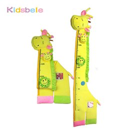 Wholesale Photo Baby Toy - Wholesale- Children Height Measure Soft Plush Toy 1.3 Meter Tall Giraffe Rattle Ring Bell Mobiles Kids Bedroom Wall Photo Sticker Baby Toys