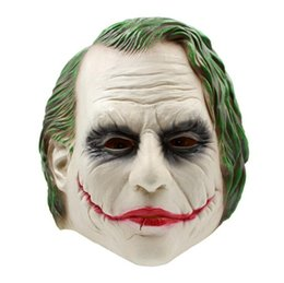 2019 costume completo del burlone Maschera di Joker Realistica Batman Costume da Clown Maschera di Halloween Adulto Cosplay Film Full Head Latex Party Mask costume completo del burlone economici