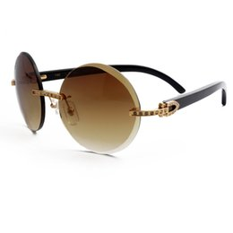 Wholesale Natural Resin - Black Natural Buffalo Horn Sunglasses Luxury Diamond Gold Frame Sunglasses Brand Designer Buffalo Horn Glasses for Men women With Box