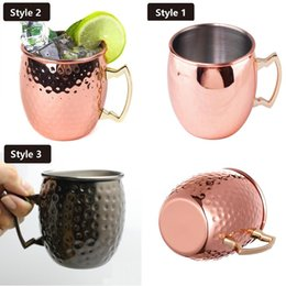 Wholesale New Glass Cup Set - New Hammered Copper plated Stainless Steel Copper Moscow Mule Mug Sets Drum-Type Beer Cup Water Glass Drinkware I018