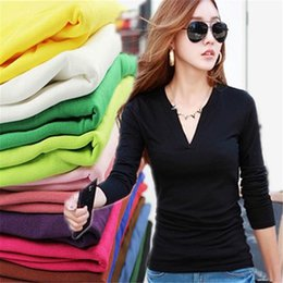 Wholesale Wholesale Long Tunic Tops - Wholesale- Fashion Women V Neck Solid Casual Shirts T shirt Long Tunic Tops 12 Color One Size