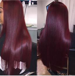 Wholesale Red Straight Weft Remy - Factory price Body Wave 50g 4Pcs lot Burgundy peruvian Hair Weave Bundles Red Wine 99J Human Hair Brazilian Virgin Hair straigt Wave