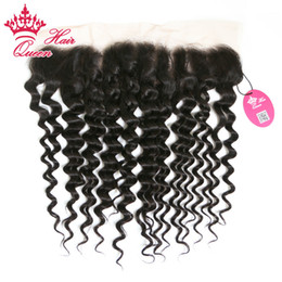 "Wholesale Deep Part Lace Front - Queen Hair Products 10""-18"" Brazilian Human Hair Deep Wave Lace Front Closure 13""*4"" Lace Frontal DHL Free Shipping"