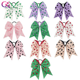 Wholesale Kid Ties For Girls - Love Sweet Hollow Out Cheer Bow With Elastic Hair Tie For Kid Christmas Cheerleading Bows For Kid Girl