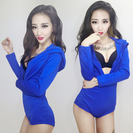 Wholesale Sexy Hip Hop Dance Costume - hip hop jazz dance costumes female sexy blue bodysuit long sleeve jumpsuit prom party show performance clothing costumes for singer dancer
