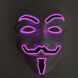 Wholesale Horror Guy - EL Wire LED MASK Vendetta Party Fashion V Cosplay Costume Guy Fawkes Anonymous Mask for Party Halloween Scary Decoration ZA3639