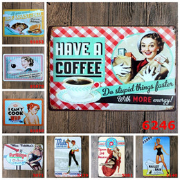 Wholesale Sticker Cooking - Kitchen Cook Coffee Wine Vintage Craft Tin Sign Retro Metal Painting Antique Iron Poster Bar Pub Signs Wall Art Sticker(Mixed designs)