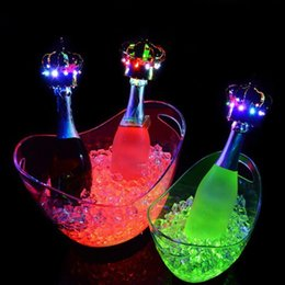 Wholesale Luminous Ice Bucket - New fashion 4L Rechargeable luminous LED Light Ice Bucket Champagne Wine Beer Buckets Tub For Bar Club Party decorations