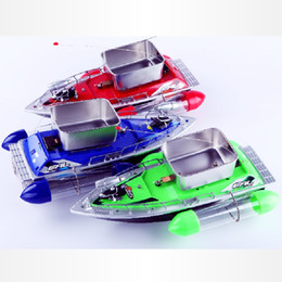 Wholesale Rc Mini Bait - Wholesale- 2016 Hot Sale Mini Fast Electric RC Bait Boat 80-300M Remote Control Distance Lure Boat Outdoor Toys Gifts For Fishing